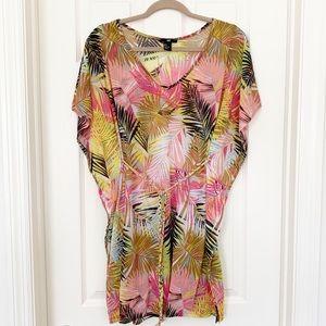 H&M Tropical Palm Print Belted Swim Coverup Caftan